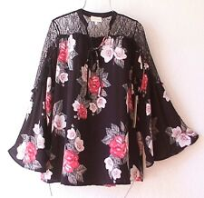NEW~Black Lace Red Ivory Magnolia Rose Blouse Shirt Boho Top~8/10/M/Medium