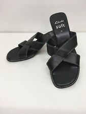 Women's Clarks Cushion Soft Black Leather Slip On Mid Heel Sandals Size Uk 4.5