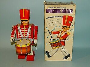 MARCHING SOLDIER TIN BATTERY TOY ORIGINAL BOX ALPS JAPAN