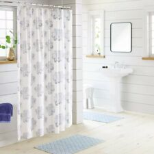 THRESHOLD Block Print Medallion Shower Curtain 72 x 72 White / Blue 100% Cotton