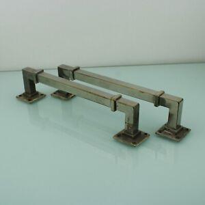 Art Deco chrome pair of door handles bars.