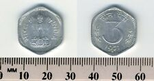 India 1971 (H) - 3 Paise Aluminum Coin - Asoka lion pedestal - 6-sided