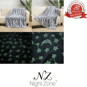 Glow In The Dark Grey Fleece Blanket Throw with Moons and Stars
