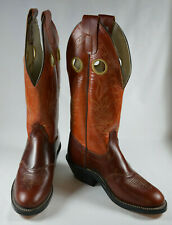 "Olathe Buckaroo Boots 16"" Tall Tops Mens 7.5 Womens 9 Red-Orange Top Cowboy NWOB"