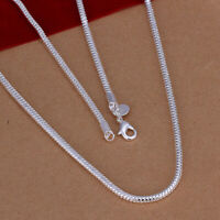 18K White Gold Plated Flexible Herringbone Flat Snake Chain Necklace