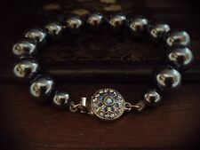 Unusual Deco Sapphire Crystal Clasp Vintage Bracelet Grey Round Pearl with