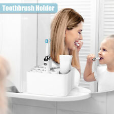 White Electric Toothbrush Holder Wall Mounted Toothpaste Caddy Stand Organizer~