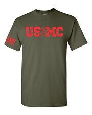 USMC Block Red Print w/ American Flag on Sleeve Marine Corp Men's Tee Shirt 1703