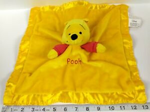 Disney Winnie The Pooh Yellow Rattle Lovey Satin Baby Security Blanket red gold