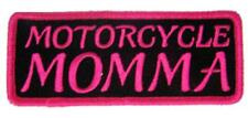 """PINK MOTORCYCLE MOMMA EMBROIDERED IRON ON PATCH P9336 jacket 4"""" BIKER new SEW ON"""