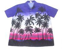 Highseas Resort Mens XL Hawaiian Aloha Shirt Yellow Bahamas Beach Palm Surf