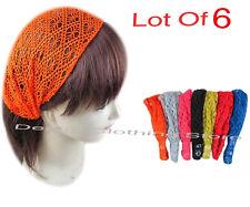 6pcs Women Bandana Lace Net Turban Head Wrap Headband Hair Band Boho Yoga Lots
