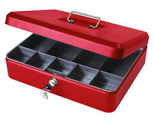 "12"" Lockable Petty Cash Box Tin, Large Metal Money Safe with Tray Holder - Red"