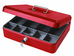 12 inch Lockable Petty Cash Box Tin Large Metal Money Safe with Tray Holder Red