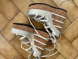 Woman Wedge Used High Heels Surface Ruined White Sexy Platform Vintage Well Worn