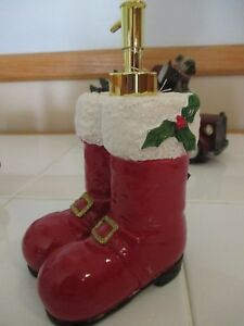 "NWT ""Red Santa Boots"" Christmas Holiday Resin Soap Dispenser - Hostess Gift!"