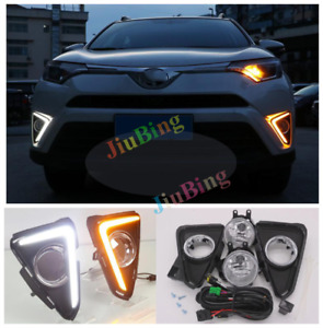 For Toyota RAV4 2016-2018 LED Driving Fog Lights DRL Daytime Running Lamp Kit s