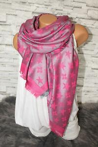 Italy XXL Wende Schal Tuch Blogger Stola Fransen pink grau rosa NEU