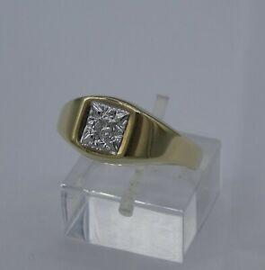 Vintage 9ct Gold & solitaire Diamond signet ring   V   (10 1/2)   2gms