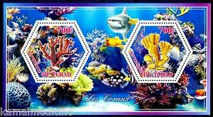 Chad 2014 MNH 2v SS, Hexagon Odd Unusual Shape Stamps, Corals Maine Life, Fish