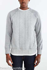 NWT Publish Brand Bennett Crew Neck Sweatshirt Cable Knit Quilting Gray sz L XL