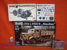 Diorama Revell ® 03091 L 4500 Maultier, Tamiya ® 20 mm Flak 38 / Waffen, Steine