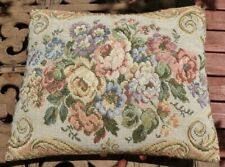 Vintage Tapestry Accent Pillow Cabbage Rose Print, 13x11