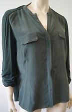 Elie Tahari Vert Olive Soie Jersey Col Rond 3/4 Manches Longues Chemisier shirt Top