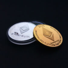 ETH Ethereum Coin Collectible Gold Silver Plated Commemorative Miner Coin FR
