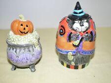 New ListingFitz and Floyd Halloween Kitty Witches Pumpkin Cauldron Salt & Pepper Shakers