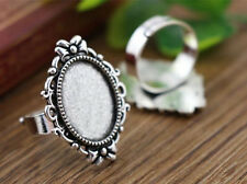 5pcs Antique Silver Fancy Oval Adjustable Ring Blanks/Bases | 13x18mm Cabochons
