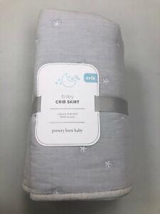 Pottery Barn Kids Finley Crib Skirt Light Gray NEW