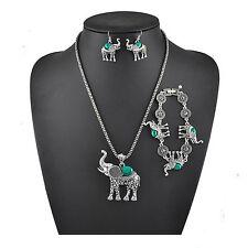 Set Parure Collier Eléphant Pendentif Turquoise Boucle Oreille Bracelet Bijoux
