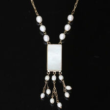 Donna Chambers Mother of Pearl Chinese Gambling Chip and Pearl Gold Necklace