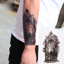 b53132534 Waterproof Temporary Fake Tattoo Stickers Grey Forest Wolf Animals Large VP
