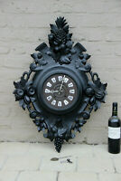XXL Antique BLACK FOREST wood carved fruits pineapple wall clock black rare