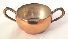 """Metal 3"""" Copper Sugar Bowl with Brass Handles"""