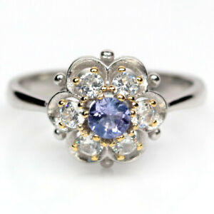NATURAL 4 mm. BLUE TANZANITE & WHITE CZ 925 STERLING SILVER RING SZ 6.75