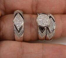 White Gold Over His And Hers Men Women's Lab Diamond Wedding Trio Ring Set
