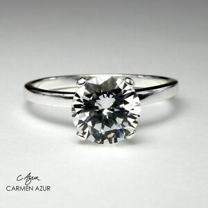 925 Sterling Silver Ring Solitaire Engagement Size K,L,M,N,O,P,Q,S with Gift Bag