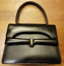 Vintage, Jannet Miller, Black, Leather, Organizer Baguette Handbag (1950s)