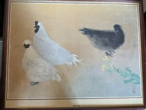 Vintage Chinese Print of chickens 54cm x 43cm framed (no glass) signed #PB5