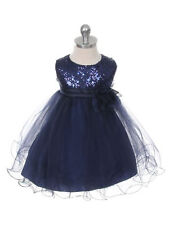 New Baby Girls Aqua Black Rose Fuchsia Gold Lime Sequins Dress Pageant Easter