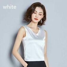 7433d750b38a1c Women Faux Silk Camisole Satin Vest Tops Tank Sleeveless Shirt Plain V Neck