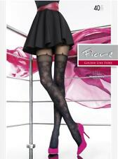7087e4a7681f6 FIORE ETEL FLORAL MOCK HOLD UP TIGHTS PANTYHOSE 40 DENIER BLACK 3 SIZES