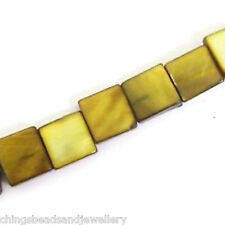 "16"" Dyed Brown Shell 8mm Square Beads"