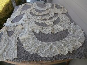Lot 10 Antique Victorian Edwardian Net Lace Collars-Sewing, Doll Clothes,Crafts