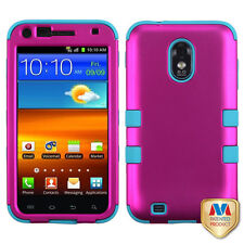 Samsung EPIC 4G TOUCH D710 IMPACT TUFF HYBRID Case Phone Cover Rose Pink Teal