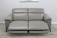 POWER ELECTRIC RECLINING 3 Seater Sofa Taupe LEATHER Adjustable Headrests