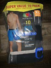 Fruit Of The Loom ~ 10 Pair Mens Tagless Boxer Briefs Underwear Black Gray ~ XL